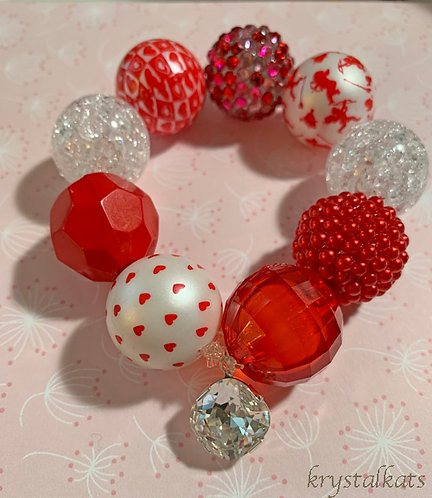 Pink or Red Valentine Little Girls Chunky Bubblegum Bracelet Bling Yes, No