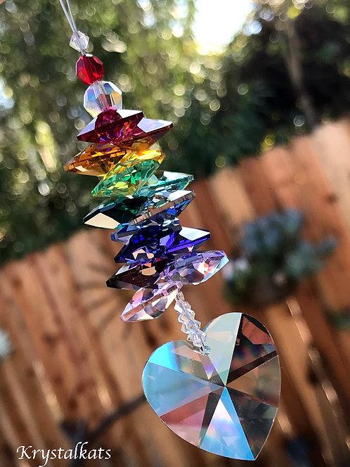 Swarovski Crystal AB Rainbow Heart Suncatcher for Car or Home, Window Car Charm