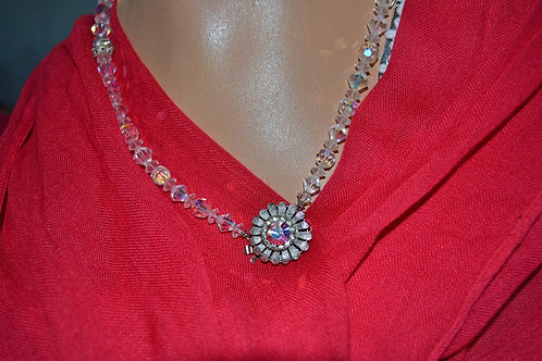 1950's Swarovski Crystal Bead Floral Necklace