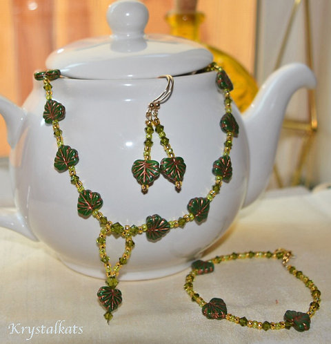 Autumn Splendor Handmade Fall Leaf Jewelry Set, Necklace, Earrings, Bracelet