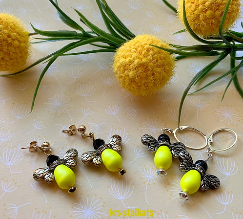 New Summer Beaded Bumble Bee Earrings with Crystals Silver Earwires or Gold Post