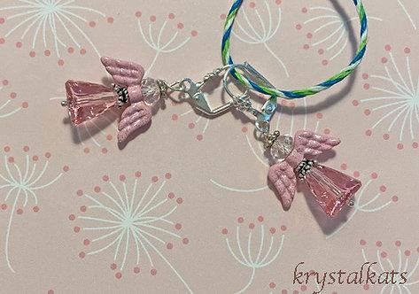 Pink Enamel Angel Wings with Glitter, Angel Earrings, Pink Crystal Body