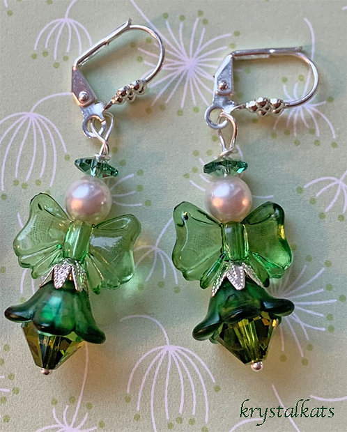 Adorable Green Angel Earrings with Swarovski Crystals