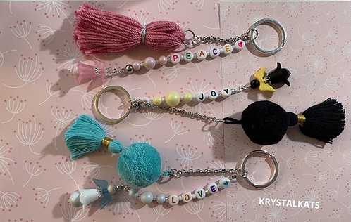 Handmade Beaded Tassel,Pompom, Personalized Name Keychains with Angels