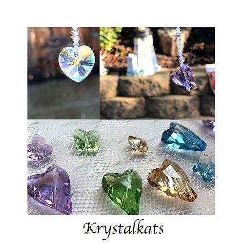 Little Hearts and Butterflies Rainbow Swarovski Crystal Suncatcher for Car Charm