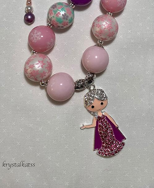 Sweet Elsa Disney Frozen Charm Bubblegum Necklace for Little Girls