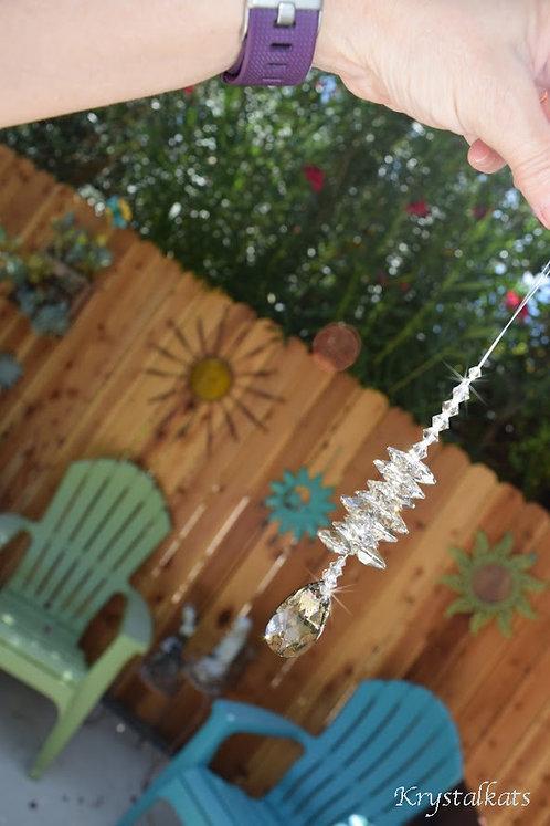 Swarovski Crystal Gold Patina Teardrop Cluster Suncatcher Window Car Charm