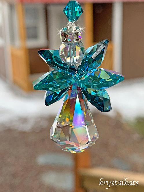 Teal and Antique Green Swarovski Crystal Angel Suncatcher for Car