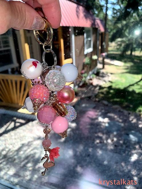 Bubblegum Chunky Bead Keychain, Rainbow Suncatcher, Car Charm, Fun Gifts for Mom