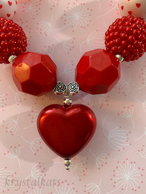 Valentine Red Heart Little Girls Chunky Bubblegum Bead Necklace Printed Design