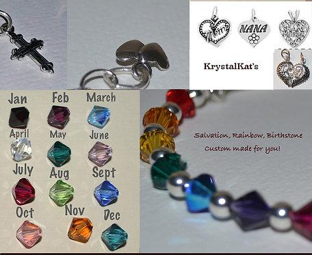 Custom Choose a Rainbow/Salvation/Birthstone Sterling Silver Bangle Bracelet