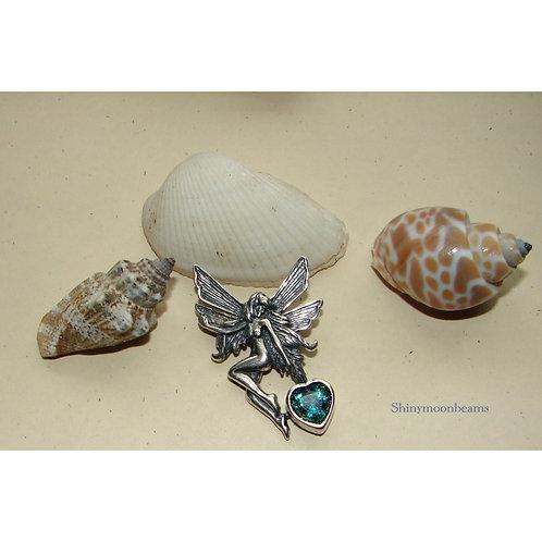 Tinkerbell Fairy  Green Quartz Pendant Suncatcher