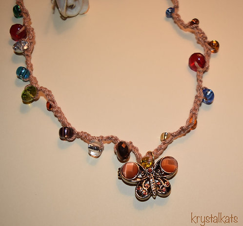 Handmade by Kat Crochet Beaded Necklace with Butterfly Locket Medallion Pendant