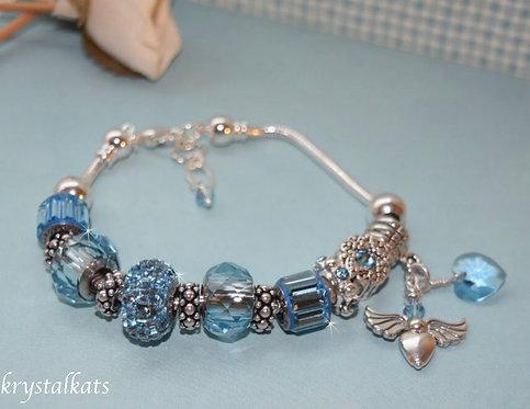 Angel Charm Heart Aqua Blue March Birthstone BeCharmed Crystal Bracelet