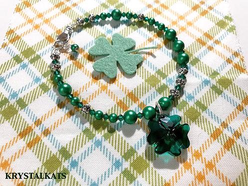 Lucky 4 Leaf Clover Swarovski Crystal Charm Bracelet, Saint Patrick's Day