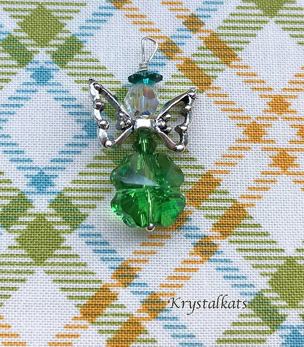 Green Crystal Clover Angel with Silver Pewter Wings, Stitch Marker Saver Pendant