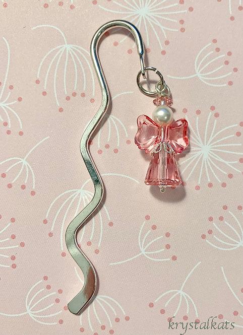 Pink Crystal Angel Metal Shepherds Hook Bookmark with Pink Wings!