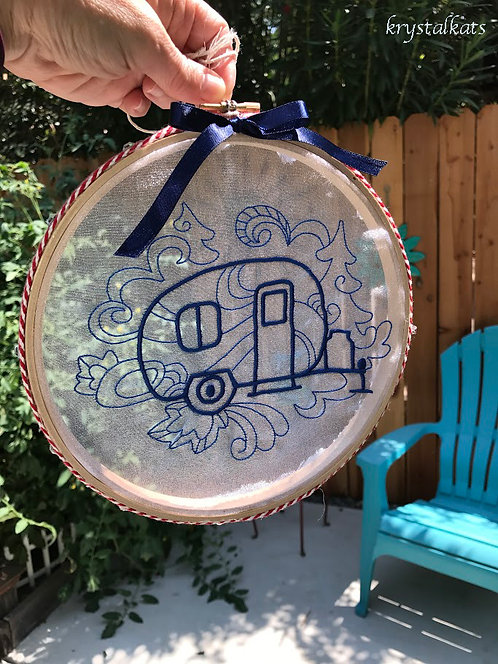 Tiny Vintage Trailer See Through Embroidery Suncatcher with Swarovski Crystals