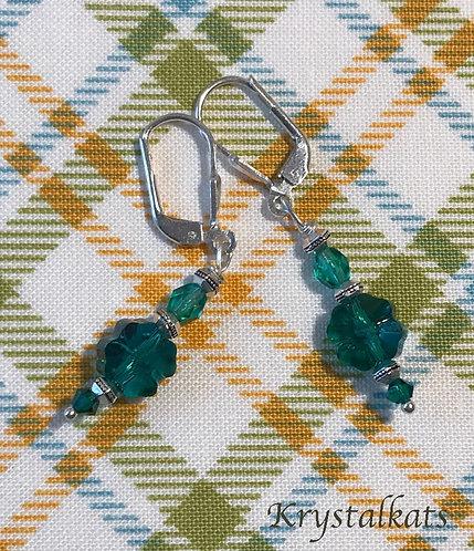 Little Green Swarovski Crystal Clover Earrings, 4-Leaf Clover Earrings, Shamrock