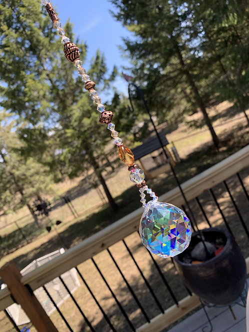Large Rainbow Crystal Ball Suncatcher w/ CopperBali Beads & Swarovski Crystals