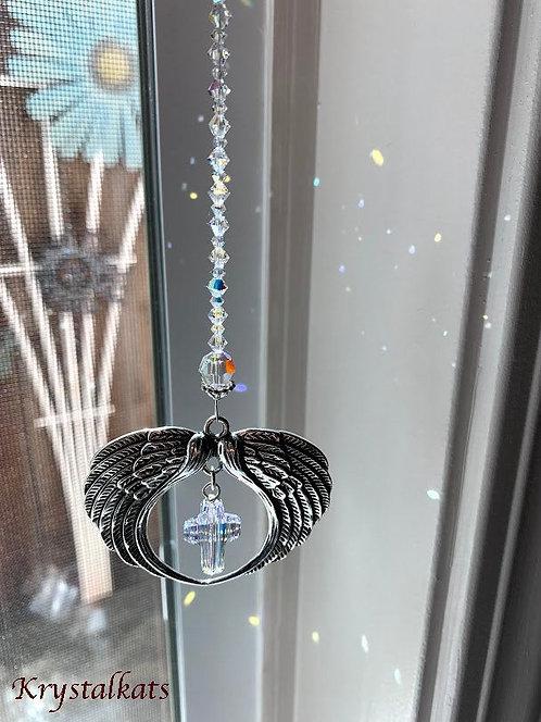Cross Angel Wings Rearview Window Car Crystal Charm Suncatcher