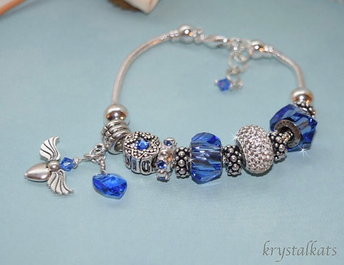 Angel Charm and Heart September Birthstone Swarovski Crystal BeCharmed Bracelet