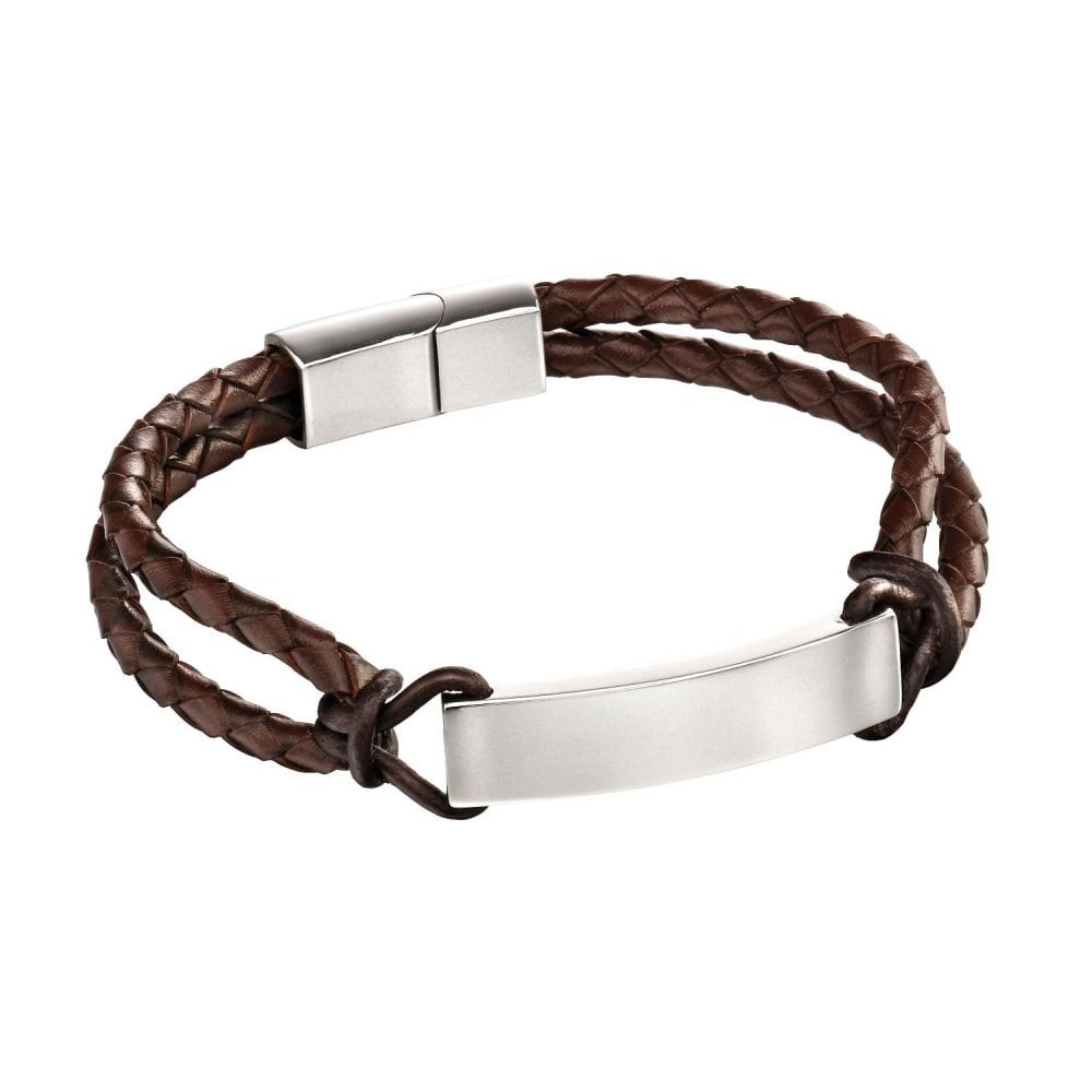 Valentine's day gift idea for him: Stainless Steel & Brown Leather Engravable Rope Bracelet