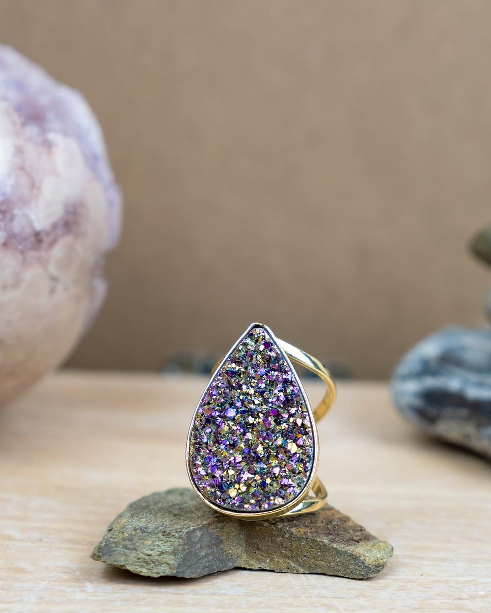 Tiana Jewel Divine Love Tear Drop Rainbow Metallic Ring