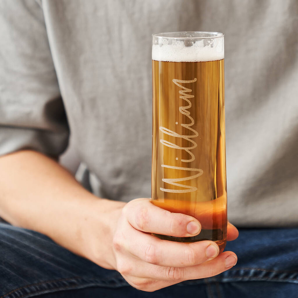 Valentine's Day gift idea for him: personalised beer glass