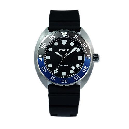Pantor Nautilus Quartz Edition 200M Mens Dive Watch With Black and Blue Bezel