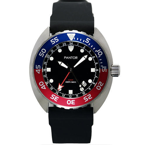 Pantor Nautilus GMT - Dual-Time-Display With Red and Blue Bezel