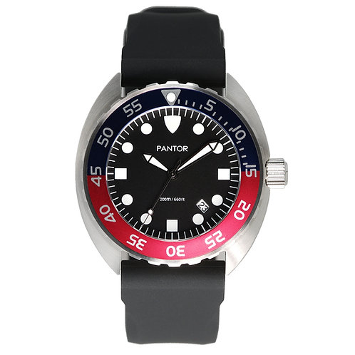 Pantor Nautilus Quartz Edition 200M Mens Dive Watch With Red and Blue Bezel