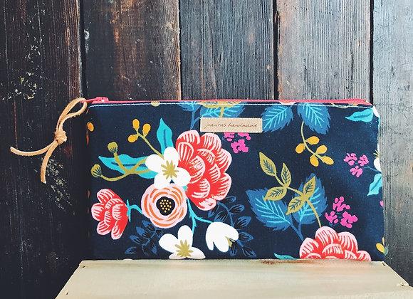 Vintage Floral Oil Bag- Coral Zipper