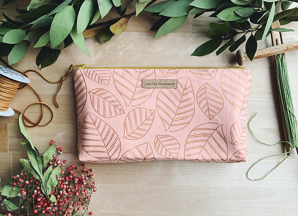 Rose Gold Leaves Oil Bag- Grellow Zipper
