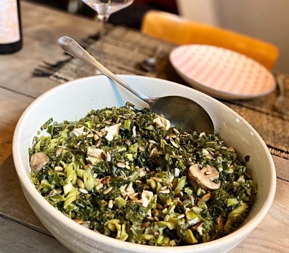 Pasta, Bloemkool & Gerookte kip salad