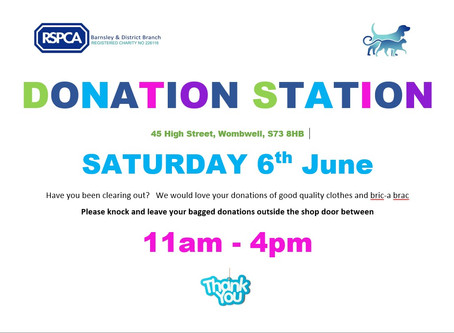 Donation Station to be held on Saturday 6th at Wombwell Shop