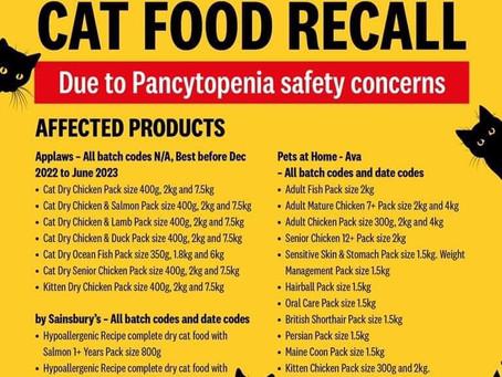 URGENT CAT FOOD RECALL