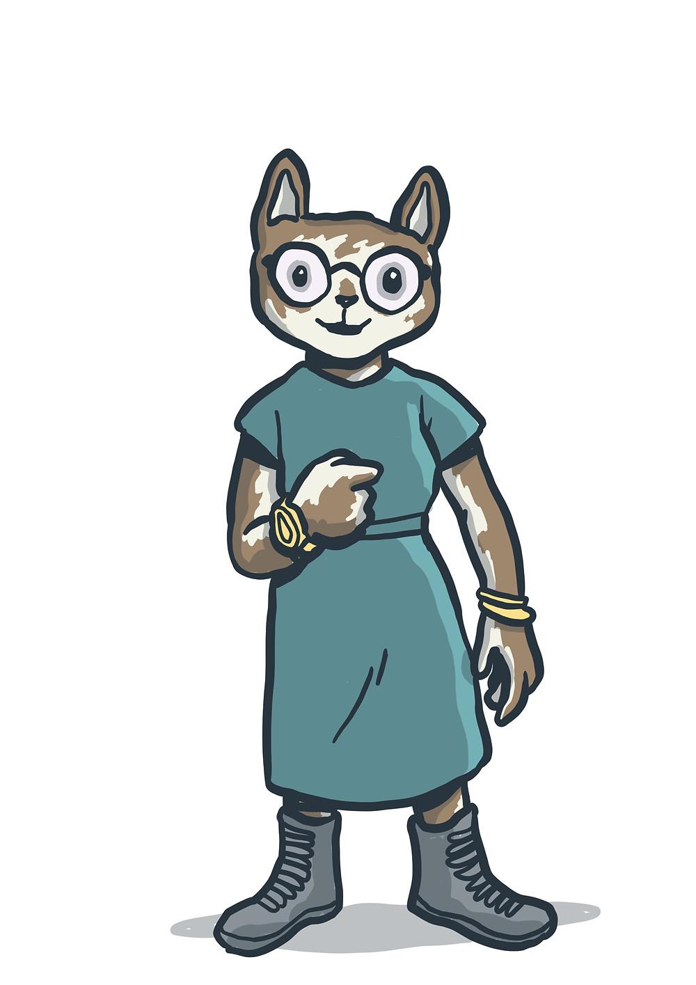 A picture of a cat in a blue dress