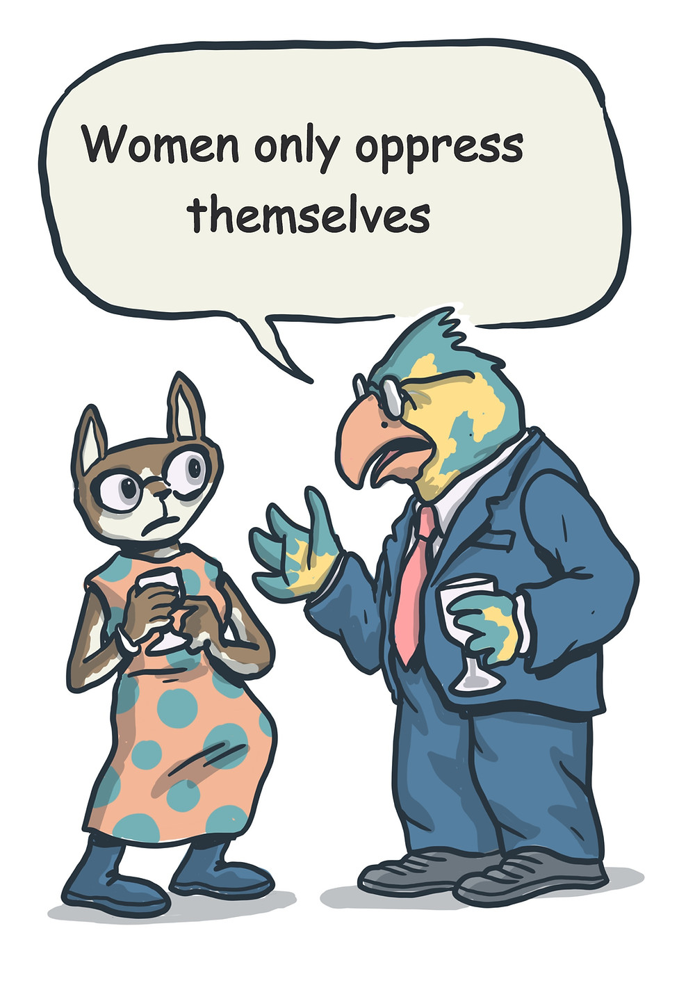 A picture of a scared cat in a dress and an important parrot in suit and glasses talking down to her