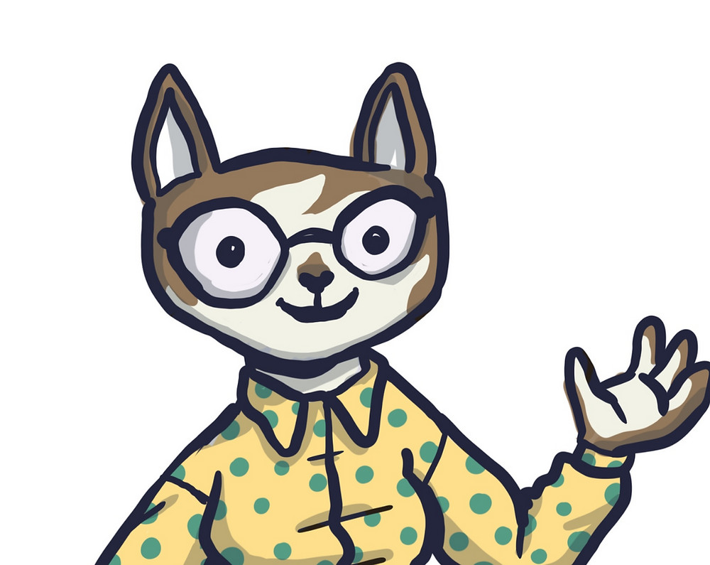 A picture of a waving cat in a yellow dotted shirt