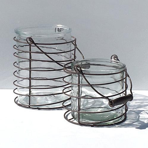 Windlicht im Drahtkörbchen, Vintage