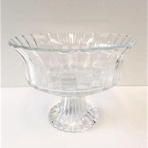Glasschale auf Fuß, gemustert, Vintage