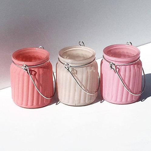 Glaswindlicht mit Metallhenkel, gemustert, Pink, Rosé, Beige