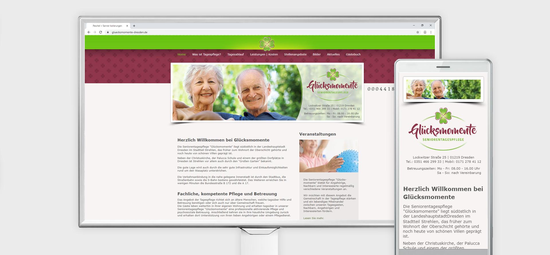 Seniorenpflege Webauftritt