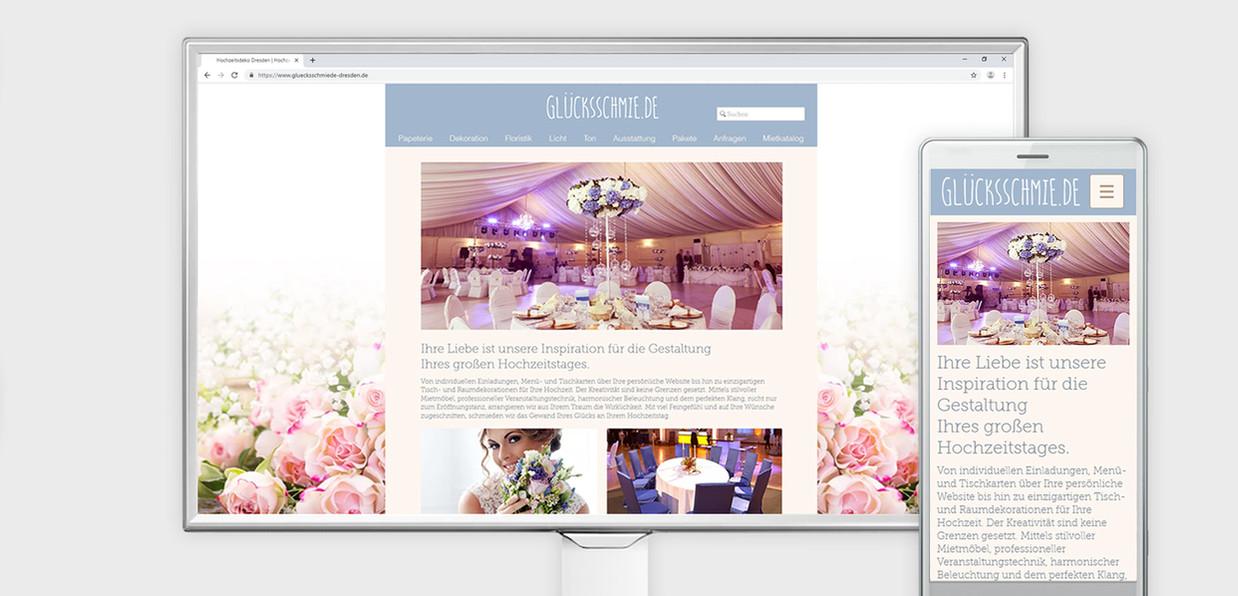 Hochzeitsdekoration Webauftritt