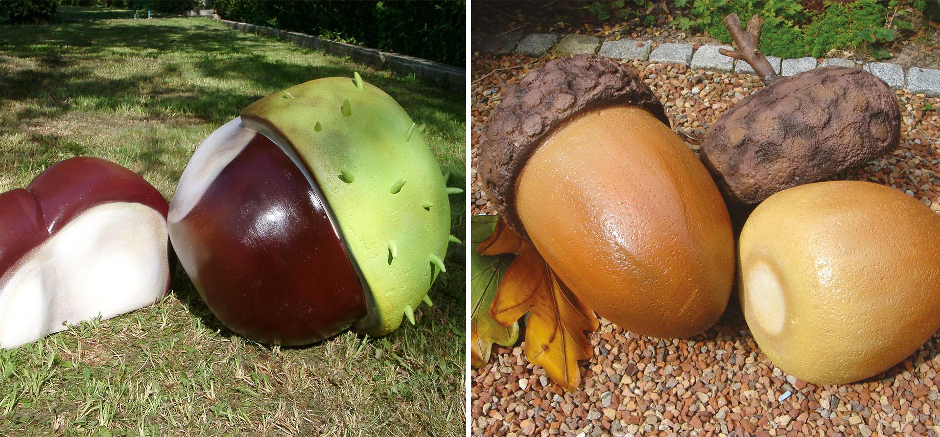 Eicheln und Kastanien Großplastiken