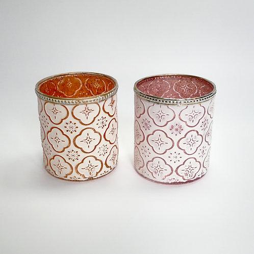 Glaswindlicht, gemustert, Kupfer/Weiß, Rosé/Weiß