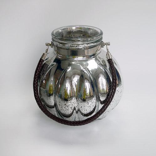 Glaswindlicht mit Tauhenkel, gemustert, Vintage, Silber