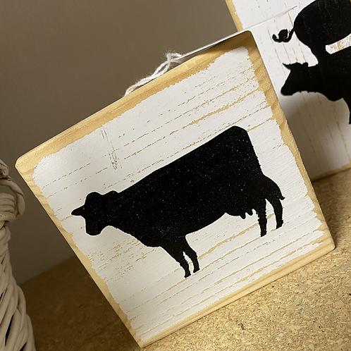 Cow wood block