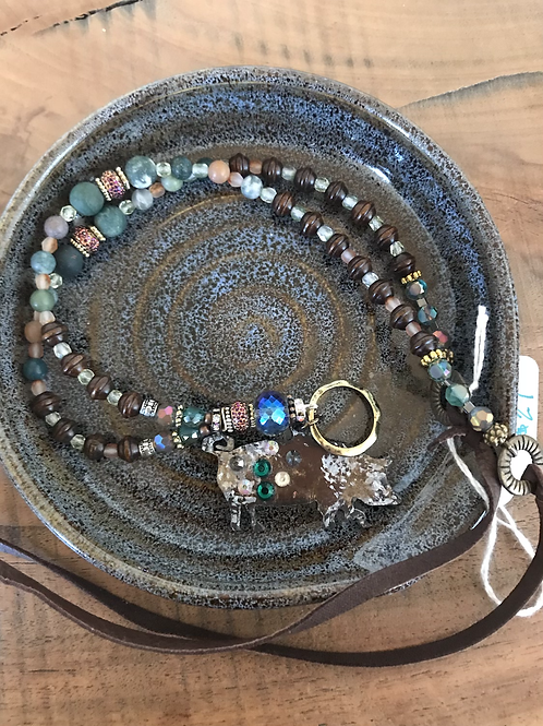 Pig beaded necklace
